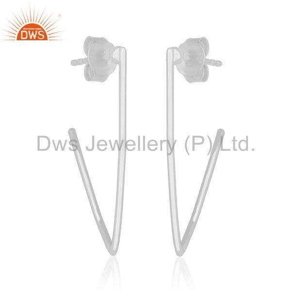 Exporter Simple Design 925 Sterling Plain Silver Womens Earrings Manufacturers