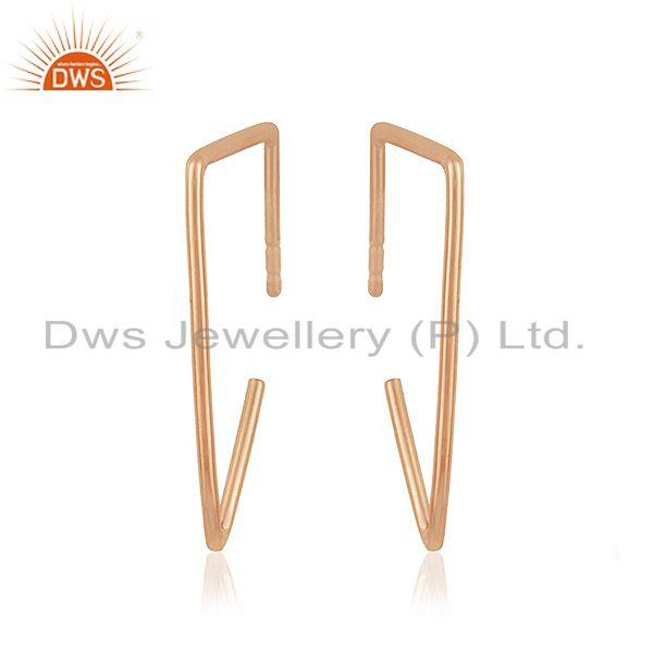 Exporter 14k Rose Gold Plated 925 Sterling Silver Simple Wire Earrings Manufacturer India