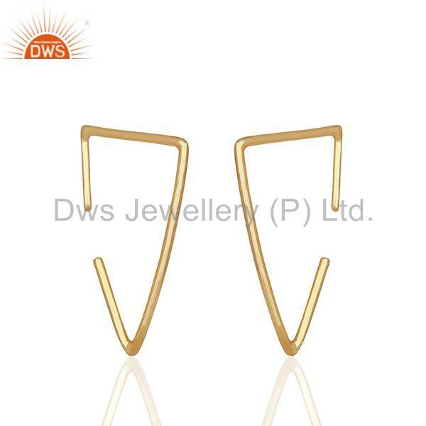 Exporter Simple Wire Design 925 Silver Gold Plated Earrings Manufacturers
