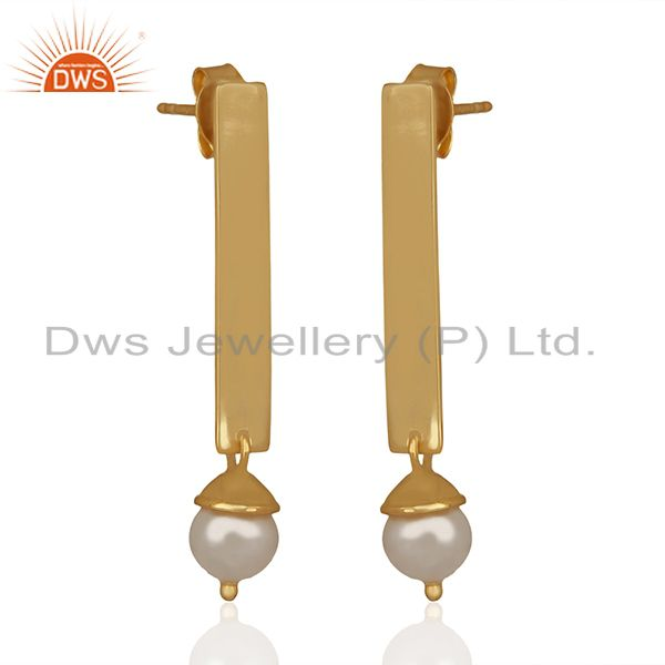 Exporter Simple Bar Design 925 Silver Gold Plated Pearl Earrings Manufacturers