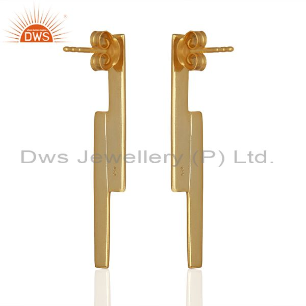 Exporter Solid 925 Silver Gold Plated Simple Bar Design Earrings Manufacturer