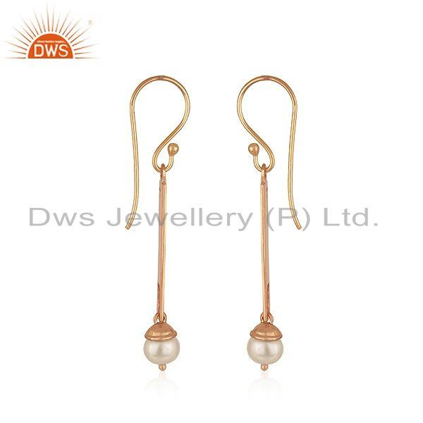 Exporter 925 Silver Rose Gold Plated Bar Shape Natural Pearl Earrings Jewelry