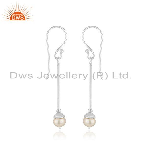 Exporter Indian Sterling Fine Silver Bar Natural Pearl Earrings Jewelry