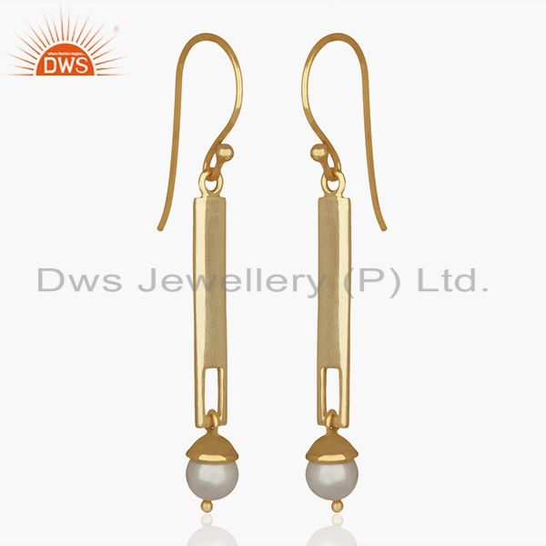 Exporter Natural Pearl Round Gemstone Sterling Silver Earrings Manufacturer