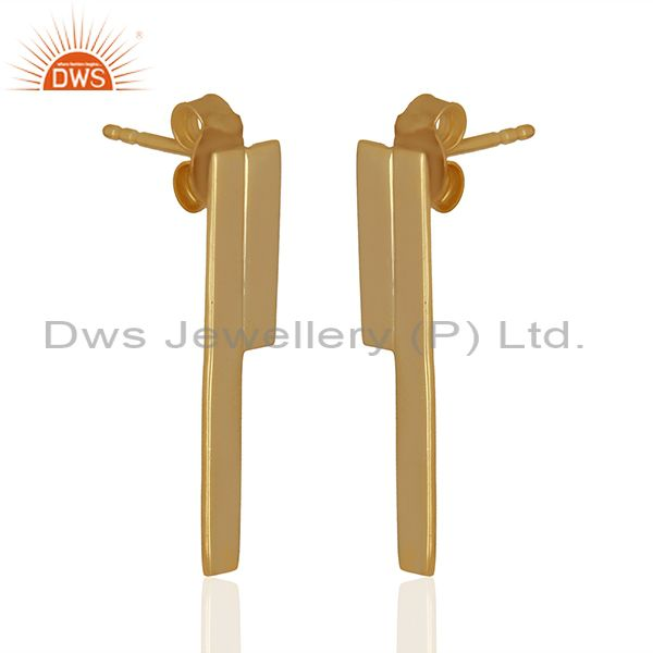 Exporter Solid Plain 925 Silver Gold Plated Designer Earrings Girls Jewelry