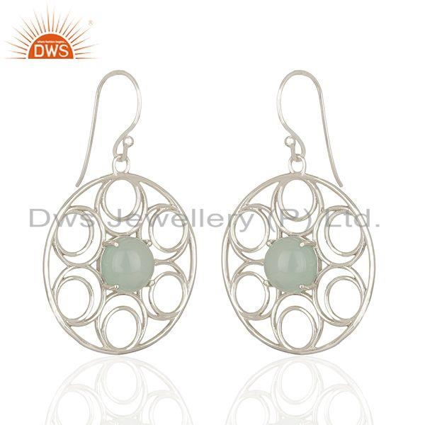 Wholesale Aqua Chalcedony Gemstone 925 Sterling Silver Earring Manufacturers
