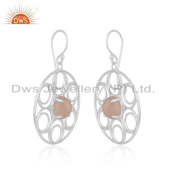 Indian Manufacturer of Handmade Rose Chalcedony Gemstone Fine Sterling 925Silver Earrings