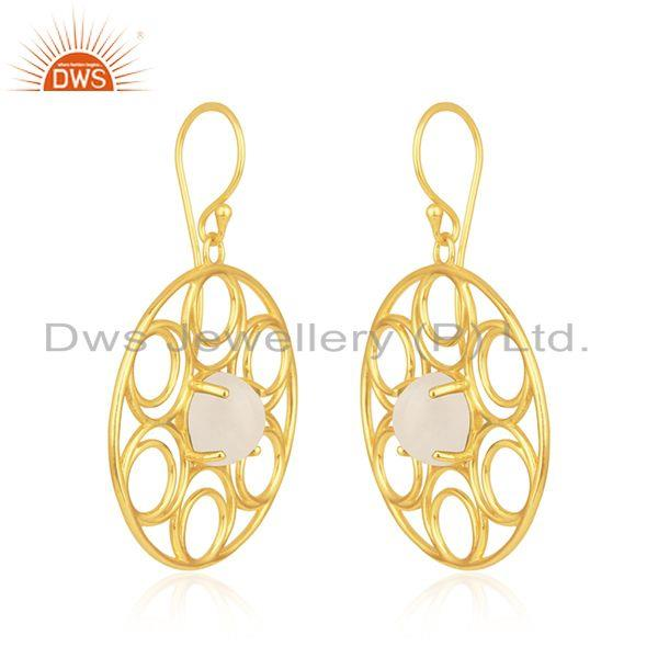Indian Supplier of Natural Rainbow Moonstone Gold Plated 925 Silver Designer Earrings