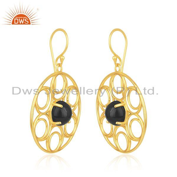 Indian Manufacturer of Prong Setting Black Onyx Gemstone Gold Plated Sterling Silver Earrings