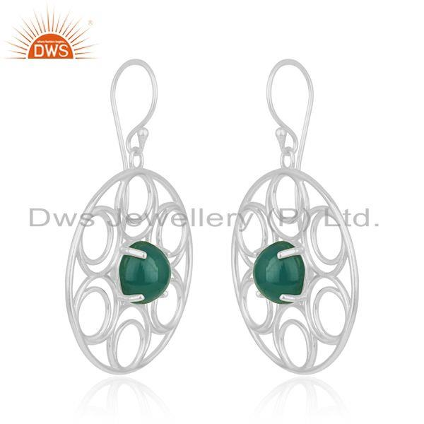 Indian Manufacturer of Fine Sterling Silver Green Onyx Gemstone Party Wear Beautiful Earrings
