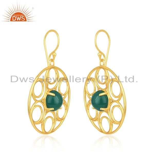 Indian Wholesaler of Gold Plated Sterling Silver Green Onyx Gemstone Party Wear Earrings