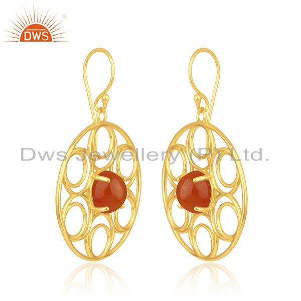 Indian Supplier of Red Onyx Gemstone Yellow Gold Plated Sterling Silver Chain Bracelet