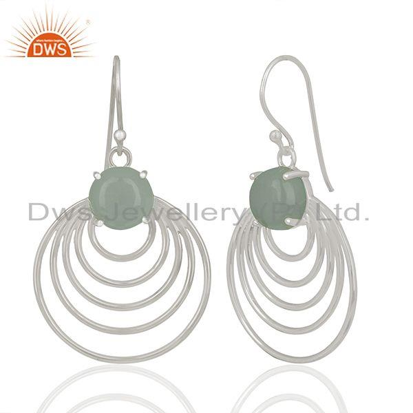 Manufacturer of Aqua Chalcedony Gemstone 92.5 Silver Dangle Earrings Jewellery