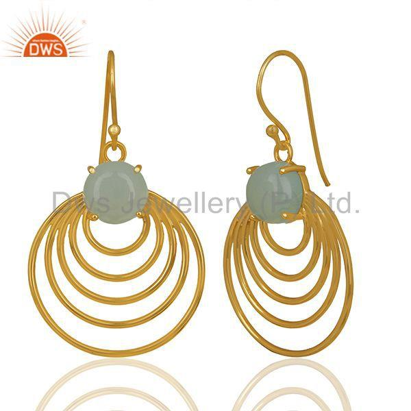 Supplier of New Arrival Gold Plated Sterling Silver Chalcedony Gemstone Earrings