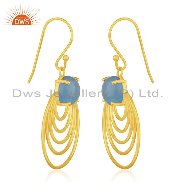 Wholesale Sterling Silver Blue Chalcedony Gold Plated Designer Earrings Jewelry for Girls