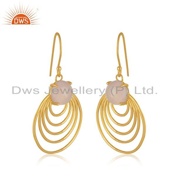 Wholesale 92.5 Sterling Silver Yellow Gold Plated Designer Party Wear Earring Manufacturer