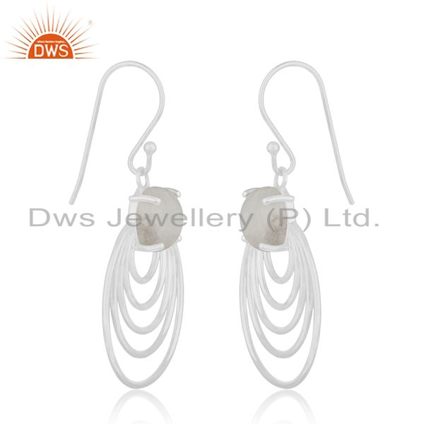 Wholesale Natural Rainbow Moonstone 925 Sterling Silver Earrings Manufacturer