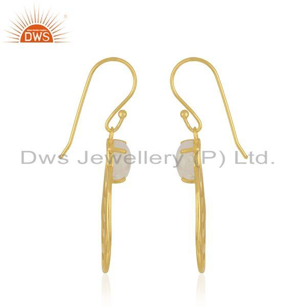 Manufacturer of Rainbow Moonstone Gemstone Designer Gold Plated Silver Earring Jewelry