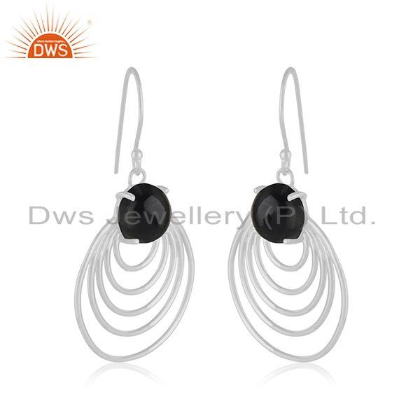 Manufacturer of Black Onyx Gemstone Sterling 92.5 Silver Party Wear Jewelry Earring Wholesale