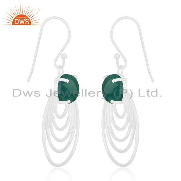 Supplier of Green Onyx Gemstone Sterling Silver Circle Design Earrings Manufacturer India
