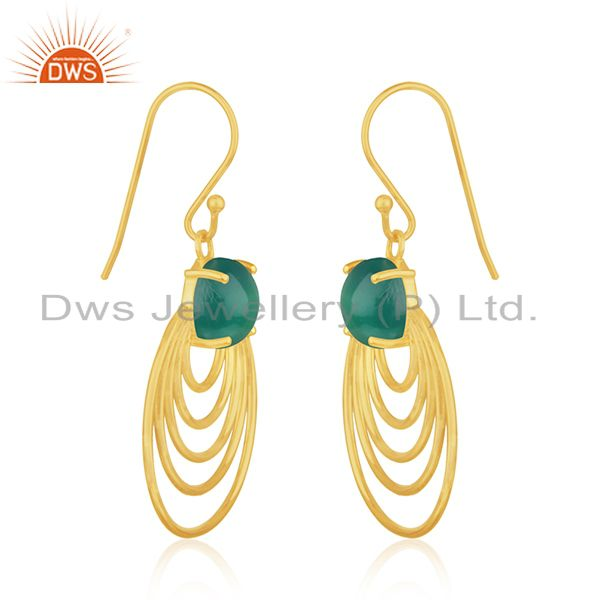 Wholesale 92.5 Silver 14k Gold Plated Green Onyx Gemstone Designer Earrings Manufacturer