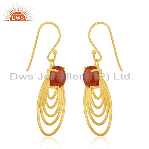 Manufacturer of 14k Gold Plated Sterling Silver Red Onyx Gemstone Designer Earrings for Womens
