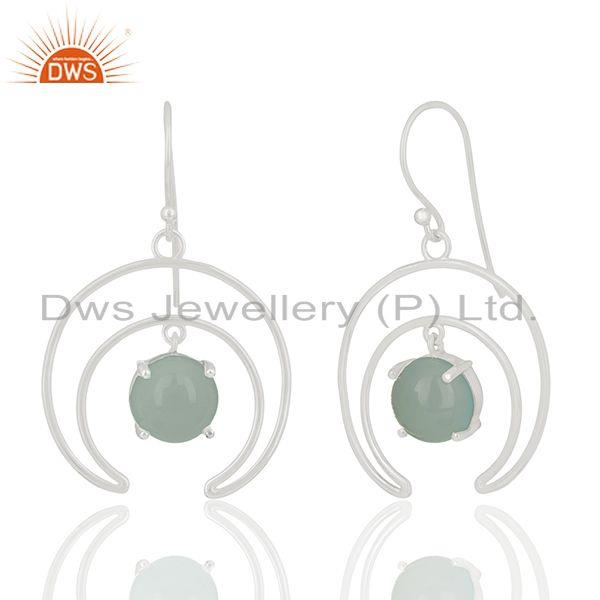 Manufacturer of Solid 925 Silver Gemstone Half Moon Design Earrings Jewelry Wholesale