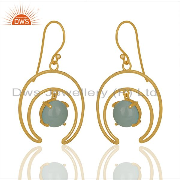 Supplier of Solid Sterling Silver Half Moon Design Chalcedony Gemstone Earrings