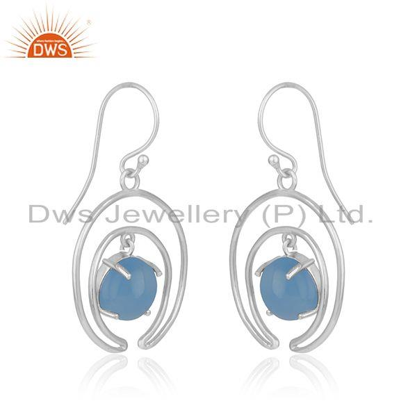 Indian Supplier of Crescent Moon Design Fine Sterling Silver Blue Chalcedony Earrings