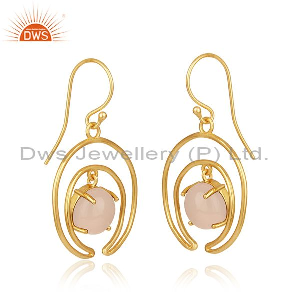 Indian Supplier of Rose Chalcedony Gemstone Crescent Moon Design 925 Silver Earrings