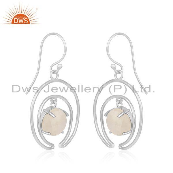 Indian Manufacturer of Fine Sterling Silver Moon Design Natural Rainbow Moonstone Earrings