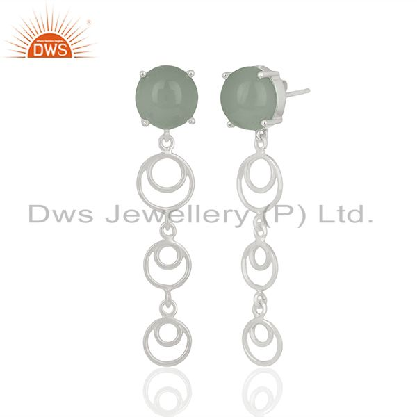 Supplier of 925 Fine Silver Aqua Chalcedony Gemstone Dangle Earrings Wholesale