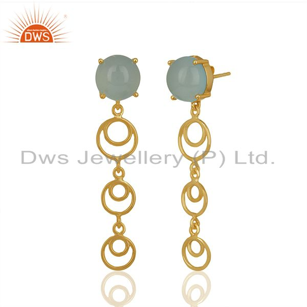 Wholesale Gold Plated 925 Silver Aqua Chalcedony Gemstone Dangle Earrings