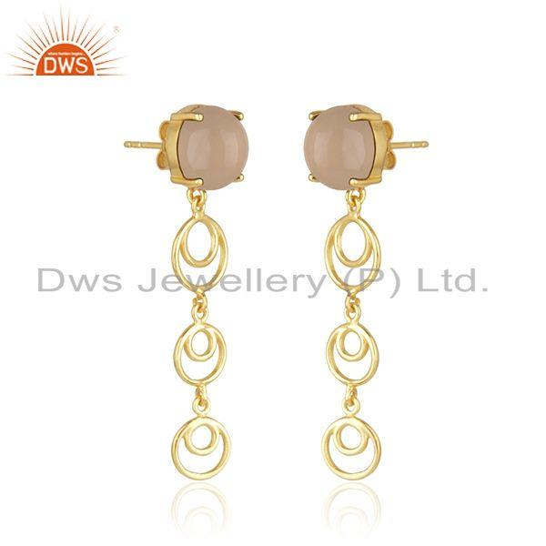 Indian Wholesaler of Rose Chalcedony Gemstone Gold Plated Designer Sterling Silver Earrings