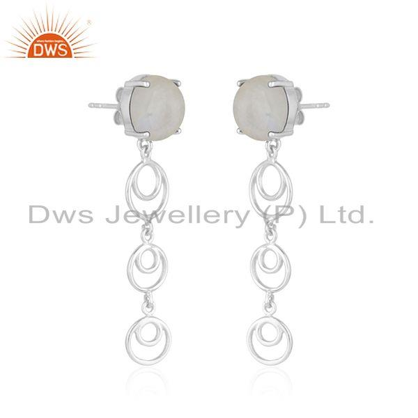 Indian Wholesaler of Natural Rainbow Moonstone 925 Fine Sterling Silver Earrings Jewelry