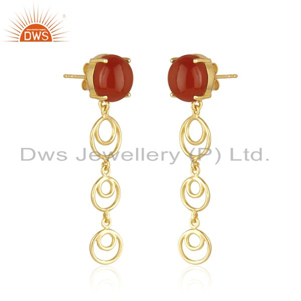 Indian Supplier of Trendy Red Onyx Gemstone Gold Plated 925 Silver Designer Earrings