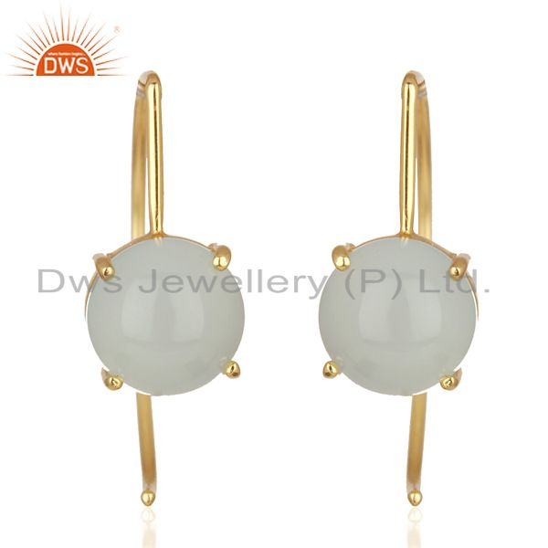 Manufacturer of Aqua Chalcedony Gemstone Simple 925 Silver Earrings Manufacturers