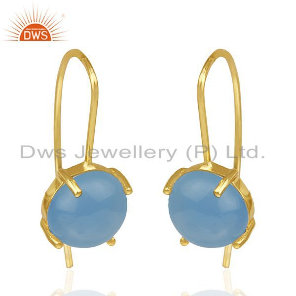 Exporter Blue Chalcedony Gemstone 925 Silver Gold Plated Drop Earrings Wholesale