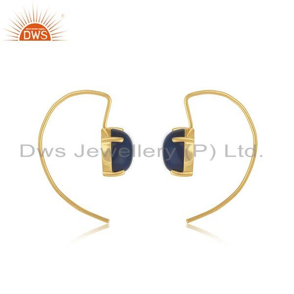 Wholesale Blue Corundum Gemstone Gold Plated 925 Silver Earring Jewelry Supplier