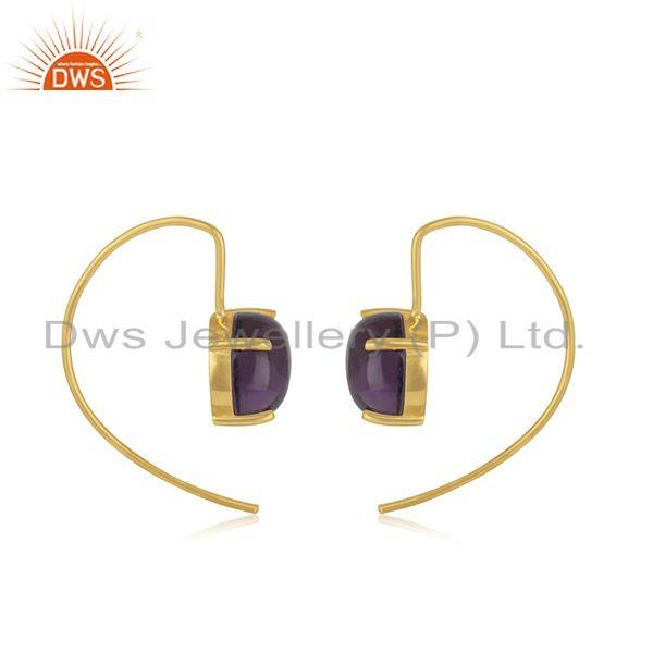 Supplier of 925 Silver Gold Plated Hydro Amethyst Gemstone Earrings For Womens