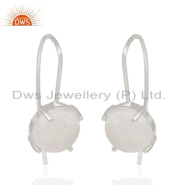 Exporter Natural Rainbow Moonstone Fine Sterling Silver Drop Earrings Manufacturer India