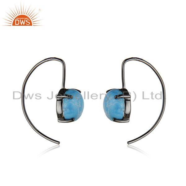 Manufacturer of Matrix Turquoise Gemstone Sterling Silver Black Rhodium Plated Earrings Supplier