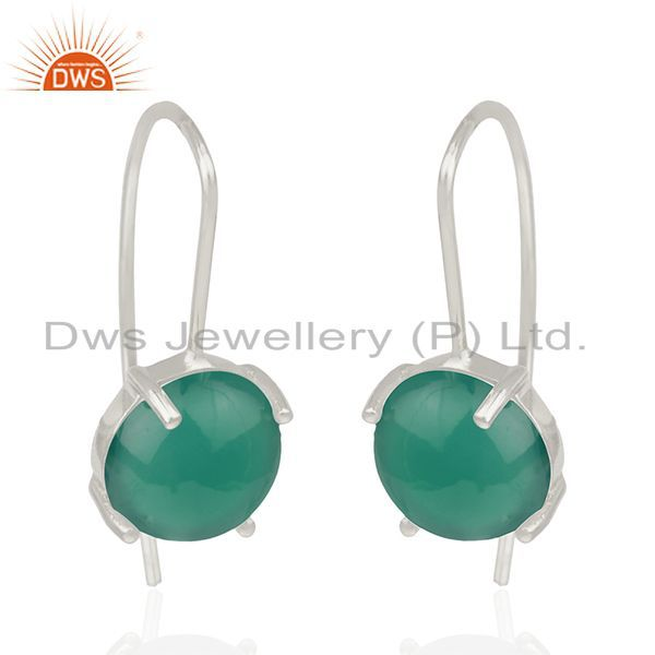 Exporter Green Onyx Gemstone Sterling Fine Silver Drop Earrings Manufacturer India
