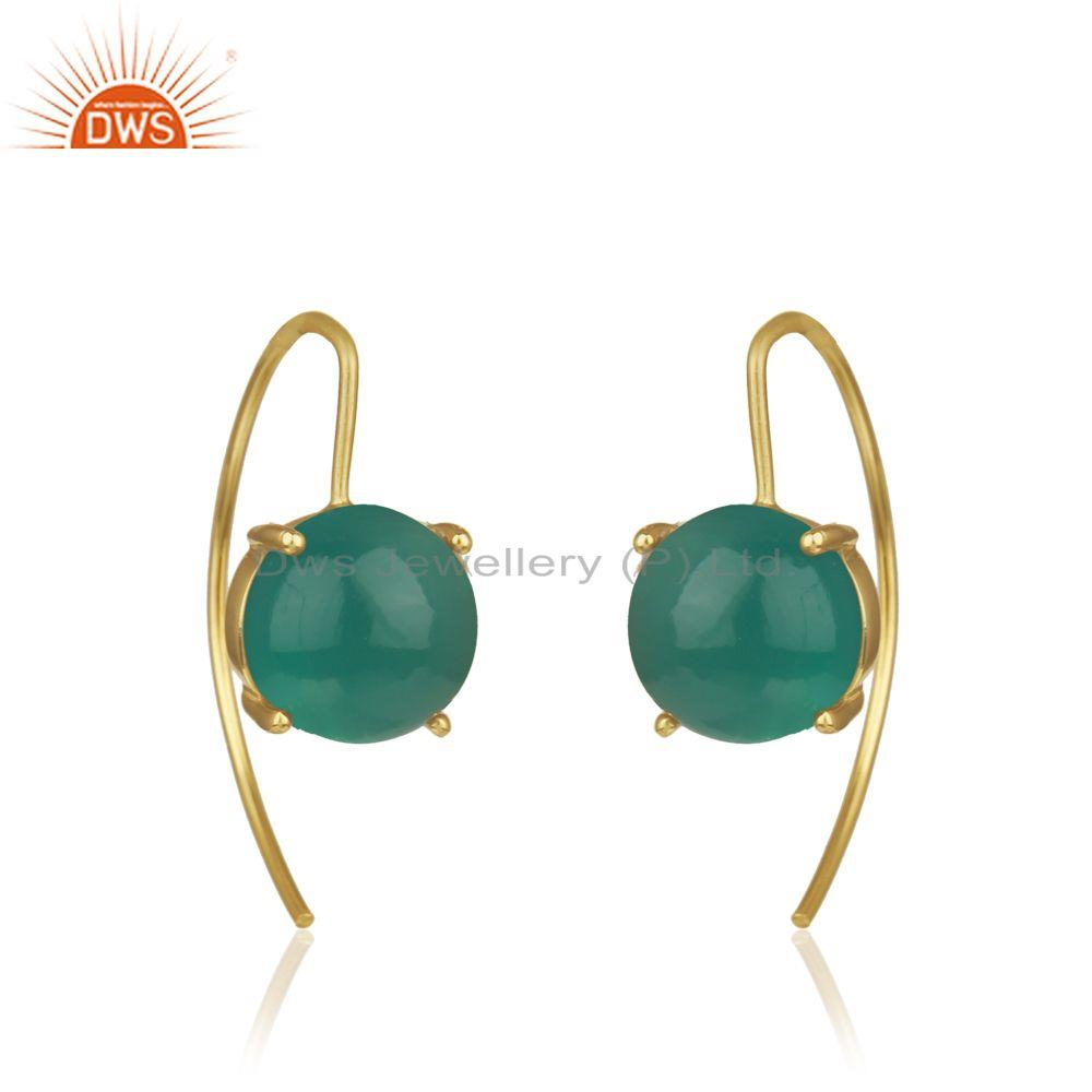 Manufacturer of Green Onyx Gemstone Gold Plated Sterling Silver Earrings Wholesale