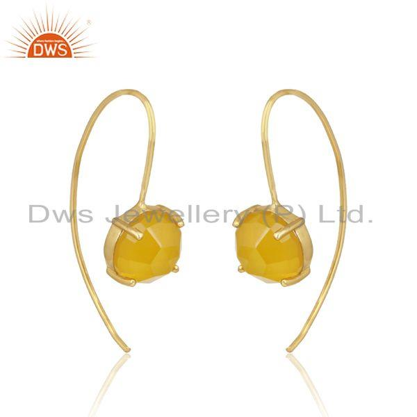 Designer handmade yellow chalcedony gold on silver 925 earrings