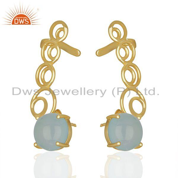 Wholesale Handmade Aqua Chalcedony Gemstone 925 Silver Ear Cuff Earrings