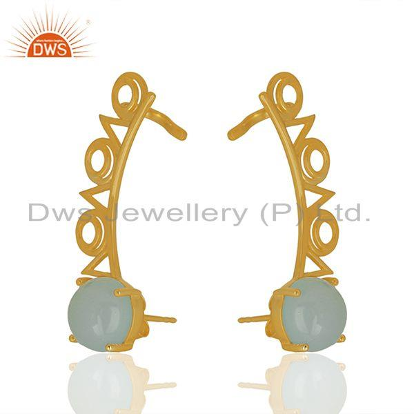Manufacturer of Trendy Gold Plated 925 Silver Chalcedony Gemstone Ear Cuff Earrings