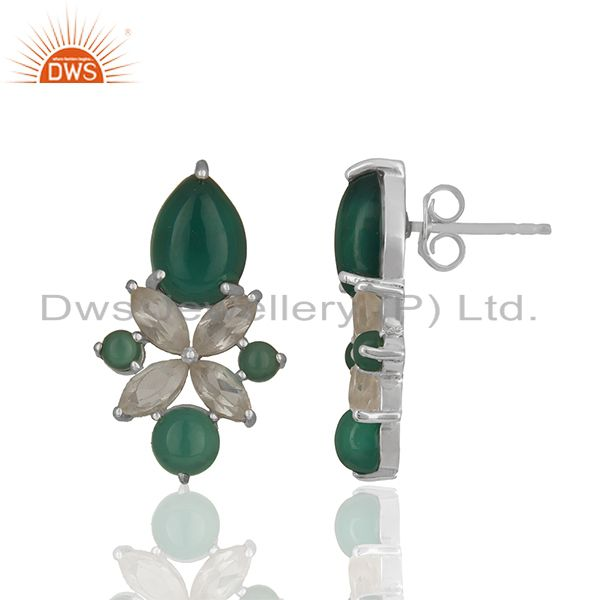Exporter Crystal and Onyx Gemstone 925 Silver Stud Earring Jewelry Manufacturer
