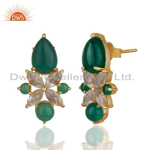 Exporter Green Onyx Gemstone 925 Silver Gold Plated Stud Earrings Jewelry