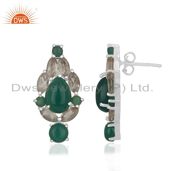 Exporter Solid 925 Silver Gold Plated Multi Gemstone Earrings Manufacturer